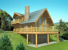 Contemporary Log House Plan 87016
