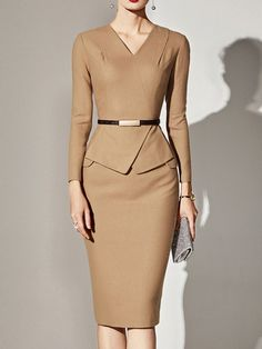 Work Solid Color V-Neck Long Sleeves Plus Size Dresses 35081cfe1