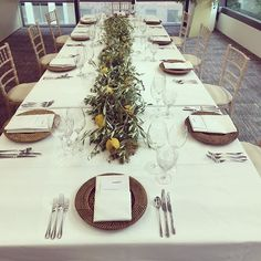 """""""💚🍃🍋Sicilian summer corporate dinner. 🍋🍃💚 Simplistic table runner : olive branches, rosemary, organic lemons. We loved this fresh look. 🍋💚🍃🍋💚🍃🍋 #frontiereconomics #londonflorists #ctncommunications #events #dawsonsflowers #londonflorists"""" by @dawsonflowerslondon. #이벤트 #show #parties #entertainment #catering #travelling #traveler #tourism #travelingram #igtravel #europe #traveller #travelblog #tourist #travelblogger #traveltheworld #roadtrip #instatraveling #instapassport…"""