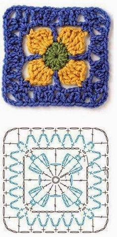 Crochet Square Patterns, Crochet Motifs, Crochet Blocks, Crochet Diagram, Crochet Squares, Crochet Chart, Knitting Patterns, Granny Squares, Crochet Afghans