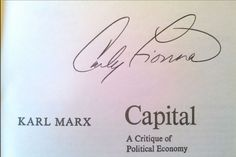 Image result for das kapital ~ Carly Fiorina signed this one.....whose political party is she with anyhow?
