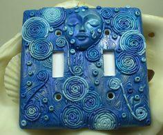 Blue Moon Goddess Polymer Clay Light Switch by WyndsongDesigns, $32.95