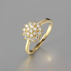 Gift For Girlfriend Classic Clear Rhinestone Statement Rings(Gold)(1 Pc) – USD $ 5.99