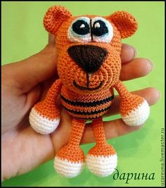 Crochet tiger toy/rettle toys tiger/orang by RainbowHappiness