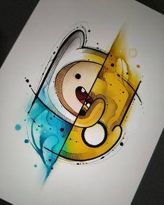 It's adventure time🕒 💁 Easy Disney Drawings, Cool Art Drawings, Art Drawings Sketches, Cartoon Drawings, Cartoon Art, Drawing Ideas, Time Cartoon, Doodle Art, Adventure Time Art