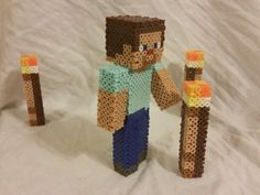 Steve and Torches - Minecraft perler beads by ARD95