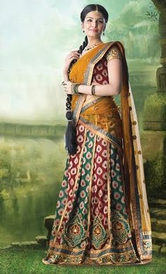 #South #Indian #half sari and many more vast design and best collection of online sarees at bit.ly/1pzQjF1