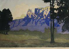 ✨ Max Sparer, Austrian-Italian (South Tyrolian) (1886-1968) - Abend am Schlern, Farb-Holzschnitt, 34 x 49 cm ::: Evening at Schlern, Dolomites, colour woodcut