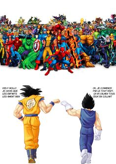 Marvel and DC comics Dragon ball Z 1394787949 dbz vs marvel, Anime Dragon Ball Gt, Dragon Bollz, Dc Comics, Funny Comics, Anime Comics, Anime Body, Manga Anime, Goku Manga, Goku E Vegeta