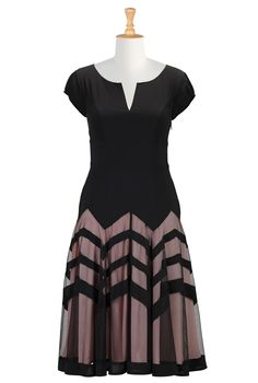Chevron Stripe Skirt Crepe Dress - eShakti. [This is amazing - the chevrons are sheer, showing the colored lining. Love it!]