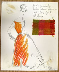 """Bonnie Cashin Sketch- Dorothy Liebes skirt Full skirt in Liebes plaid linen and suede camisole #1874 """"Suede camisole Liebes plaid linen- and bare feet- at home"""" Signed by Cashin dated """"Aug. 1964"""""""