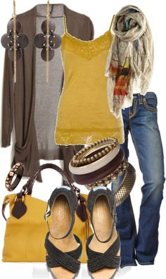 Pretty yellow and brown outfit, accessories too Mode Outfits, Casual Outfits, Fashion Outfits, Womens Fashion, Fashion Tips, Style Work, Mode Style, Fall Winter Outfits, Autumn Winter Fashion