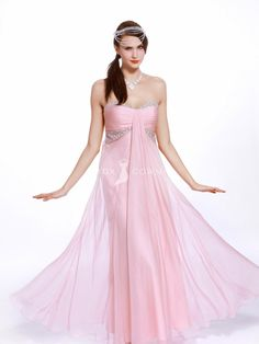 pink ankle-length chiffon strapless sweetheart prom dress