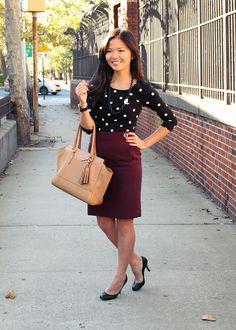 Polka dot top and oxblood skirt