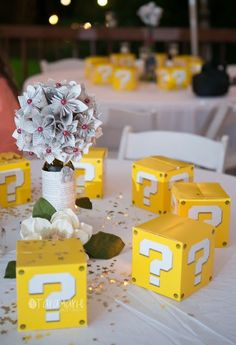 Tara Marie Photography-- Mario Brother boxes for wedding favors!