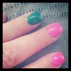 Color Block Polished Nails   #fashion #nails #style #nailstyle #manicures