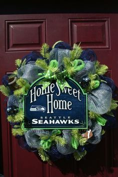 Seattle SeaHawks NFL Football Fan Blue and Silver Deco mesh Door Wreath Seahawks Gear, Seahawks Fans, Seahawks Football, Football Fans, Seattle Seahawks, Football Wreath, Seattle Mariners, Football Season, Football Helmets