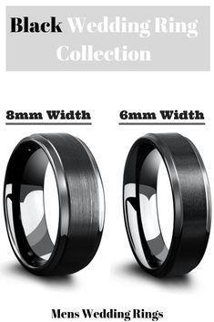 Mens black wedding rings crafted out of tungsten carbide. There are so many tungsten rings to pick from. I love the two in the picture. The black ring on the left is 8mm in width and the ring on the right is 6mm in width. He really wants a black tungsten ring and I think I just found the one. #blacktungstenrings #blackrings #mensweddingrings Black Tungsten Rings, Tungsten Wedding Rings, Tungsten Carbide Rings, Black Wedding Rings, Unique Wedding Bands, Black Rings, Ring Crafts, Men's Jewelry, Rings For Men