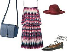 Colourfull dress+black lace up ballerinas+blue shoulder bag+red hat. Summer outfit 2016