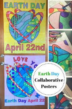 Everyone in the classroom participates in creating these collaborative posters. Great Earth Day activity for kids! #EarthDayActivites #earthdayactivitiesforkids #collaborativeposters #artwithjennyk