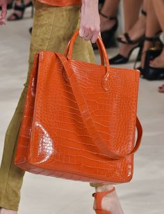 Pin for Later: The 7 Biggest Bag Trends For Spring 2015 Ralph Lauren Spring 2015 Purses And Handbags, Leather Handbags, Leather Bag, Soft Leather, Ralph Lauren, Sacs Design, Crocodile Handbags, Spring Bags, Big Bags