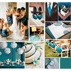 teal wedding @Mandy Bryant Bryant Bryant Bryant Dewey Seasons Bridal The teal walls are just too much (bottom left) but some of the others are nice