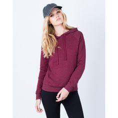 Basic Pullover Hoodie ($18) ❤ liked on Polyvore featuring tops, hoodies, sweatshirt hoodies, hooded sweatshirt, long sleeve hoodie, hoodie pullover and purple hoodies