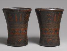 Pair of Keros, 16th–17th century Peru, Inka/Colonial Wood, pigmented resin inlay