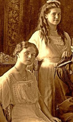 Grand Duchess Olga Nikolaevna and Grand Duchess Maria Nikolaevna in a formal family portrait. Olga and Maria both were murdered in July of 1918. They were canonized as holy passion bearers. These two girls were kind, although Olga could have quite a temper.