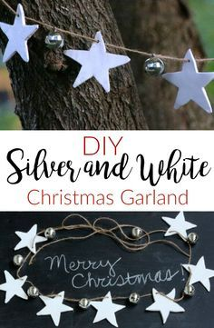 Silver-and-White-Christmas-Decor. Air dry clay stars and jingle bells come together with a length of twine to create this easy and simplistic Star and Jingle Bell Garland. DIY Christmas Crafts / Christmas Decorations.