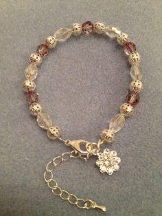 Charm Bracelet with Swarovski Crystal on Etsy, £30.00