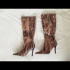 Snakeskin boots BOGO ON SHOES TILL THE END OF THE MONTH. PLEASE LOOK AT RULES ABOUT BOGO. NWOT stylish stiletto snakeskin boots Shoes Heeled Boots
