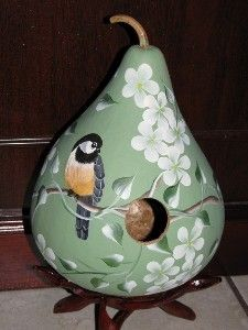 Another painted gourd: chickadee & delicate flowers. Love.