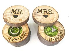 Wedding Ring Bearer Box, Mr And Mrs Engagement Ring Box, Wood Ring Box, Tree…
