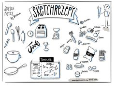 Sketch recipe – recipe as sketch note – sketch notes by Diana Book Design Layout, Book Cover Design, Valentines Day Drawing, Food Doodles, Bullet Journal, Sketch Notes, Sketch Inspiration, Take The First Step, Filofax