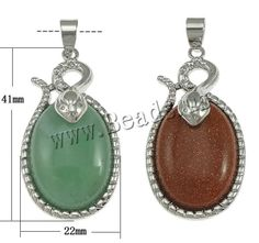 Gemstone Pendant, with Zinc Alloy, Flat Oval, platinum color plated, different materials for choice, 22x41x11mm - beads.us