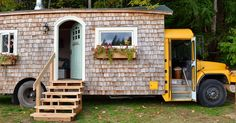 Couple transform 1989 International school bus into cozy cottage.