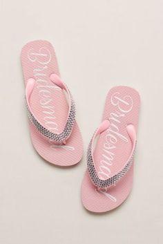 Bride and Bridesmaid flip flops for wedding reception. Purchase flip ...
