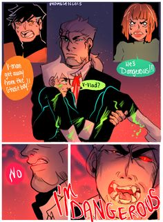 Promsien's Art Blog   I need this to continue. Danny being held by Vlad as Vlad basically reveals himself and then right in front of Danny's parents, fix him up and protects him.