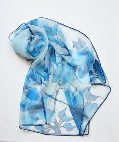 Silk Scarf blue. Hand painted Summer scarf with blue Blossoms. Handpained batik scarf. Women Scarf blue. Women Birthday gift. Ready to ship - pinned by pin4etsy.com