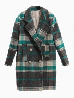 Green Plaid Woolen Padded Lapel Coat - Choies.com