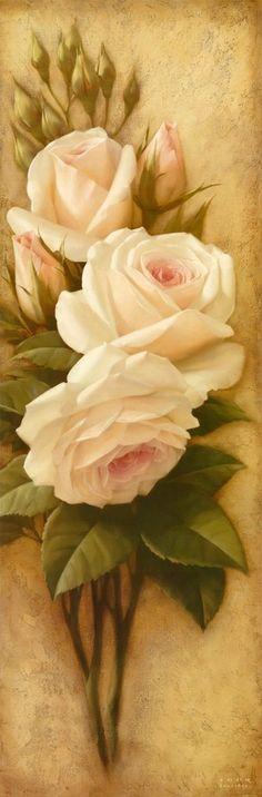 Belo arranjo floral!Ótimo modelo para porcelana, ou tela.