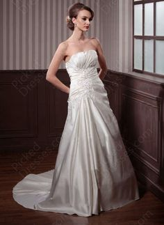 Princess Strapless Satin Chapel Train Appliques Wedding Dress at Pickeddresses.com