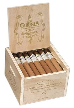 A Cigar Steeped in Legend & History - Gurkha Heritage Collection Limited Release Edition cigars are blended and expertly hand rolled in Nicaragua with estate grown Dominican Piloto Cubano, Pennsylvanian, and Nicaraguan filler tobaccos secured by a Nicaraguan binder and finished in a Rosado Ecuadorian Habano wrapper. This flavorful blending of tobaccos produces a medium- to full-bodied, robust cigar of medium strength with rich dark chocolate and coffee notes, and a well-balanced spiciness.