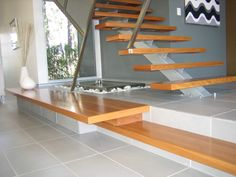 Staircase safety, styles, design and other topics of interest regarding stairs and balustrade Interior Design Tools, Mid-century Interior, Interior Stairs, Open Stairs, Metal Stairs, Floating Stairs, Home Stairs Design, House Design, Stair Design