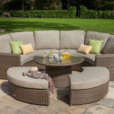 Image of Hartman Bali Curved Lounge Weave Furniture Set in Chestnut / Tweed