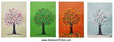 Les arbres à travers les saisons en confettis ou en peinture avec UHU