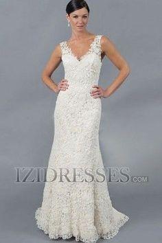 Trumpet Mermaid V Neck Lace A Line Wedding Dresses At Izidresses