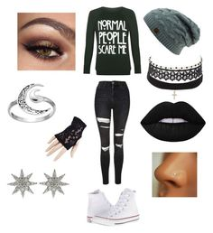 """""""Emo Trinity Style"""" by huismkyl ❤ liked on Polyvore featuring Topshop, WearAll, Charlotte Russe, Black, Primrose, Converse and Bee Goddess"""