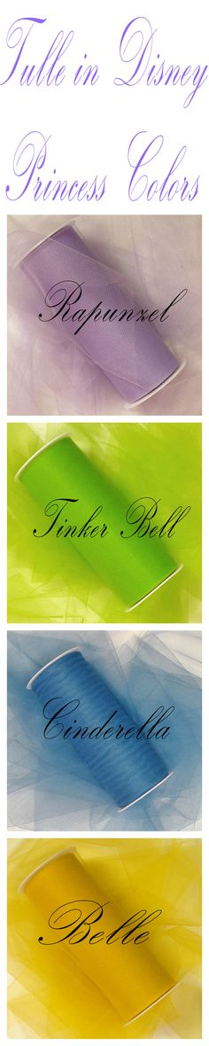 """Disney Princess Colored Tulle Rolls 3"""" - 18"""" - Find the Right Match of Tulle to Make DIY Princess Costumes, Decor for a Princess Party, and More! #tullerolls"""